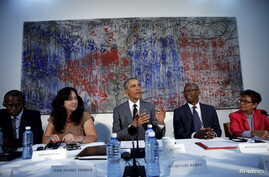 """U.S. President Barack Obama attends a meeting with Cuban dissidents at the U.S. embassy in Havana, Cuba, March 22, 2016. On the wall behind Obama is a painting, """"My New Friend,"""" donated to the embassy by Michel Mirabal, a Cuban artist."""