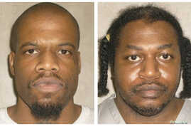 FILE - Death row inmates Charles Warner (R) and Clayton Lockett are seen in a combination of pictures from the Oklahoma Department of Corrections.