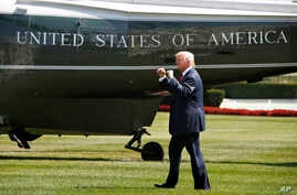 President Donald Trump walks on the South Lawn of the White House in Washington, Aug. 4, 2017, to board Marine One helicopter for a short trip to Andrews Air Force Base, Maryland, en route to Bedminster, N.J., for vacation.