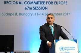 Hungarian Prime Minister Viktor Orban addresses the opening session of the 67th session of the WHO Regional Committee for Europe in Budapest, Sept. 11, 2017.