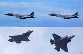 FILE - In this combination of file photos, top: U.S. Air Force B-1B Lancer bombers fly over Japan, July 8, 2017; and two U.S. Air Force F-35 jets arrive at Hill Air Force Base in Utah, Sept. 2, 2015. Two U.S. B-1B bombers and four F-35 stealth fighte