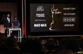 A screen showing the Oscar nominees for Best Picture as announced by actor John Krasinski and Academy President Cheryl Boone Isaacs during the Academy Awards Nominations Announcement at the Samuel Goldwyn Theater in Beverly Hills, California, Jan. 14
