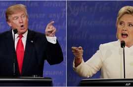 Republican presidential nominee Donald Trump and Democratic presidential nominee Hillary Clinton speak during the third presidential debate at UNLV in Las Vegas, Oct. 19, 2016.