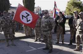 Afrikaner Resistance Movement members outside Ventersdorp court, South Africa, May 22, 2012.