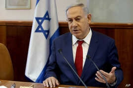 Israeli Prime Minister Benjamin Netanyahu heads the weekly cabinet meeting at the Prime Minister's office in Jerusalem, May 15, 2016.