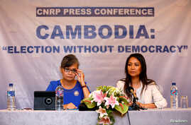 Vice President of the Cambodia National Rescue Party (CNRP), Mu Sochua (L) and CNRP's Deputy Director for Foreign Affairs, Monovithya Kem (R), hold a press conference in Jakarta, Indonesia, July 30, 2018.