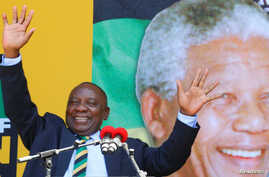 South African Deputy-President Cyril Ramaphosa attends a rally to commemorate Nelson Mandela's centenary year in Cape Town, South Africa, Feb. 11, 2018.