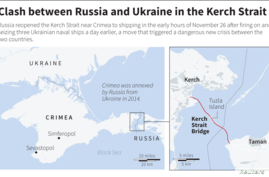Map locating the Kerch Strait bridge that links Crimea to Russia.