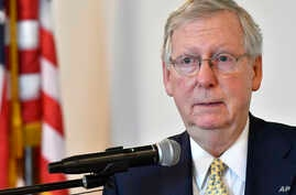 Senate Majority Leader Mitch McConnell, R-Ky., speaks at the Lincoln Day Dinner, June 30, 2017, in Elizabethtown, Ky.