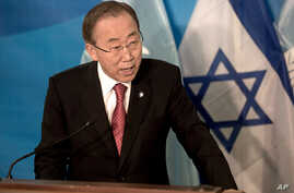 U.N. Secretary-General Ban Ki-Moon speaks during a joint press conference with Israeli Prime Minister Benjamin Netanyahu at the prime minister's office in Jerusalem, Oct, 13, 2014.