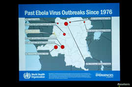 A slide is pictured during a briefing for World Health Assembly (WHA) delegates on the Ebola outbreak response in Democratic Republic of the Congo at the United Nations in Geneva, Switzerland, May 23, 2018.