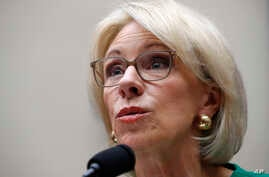 FILE - Education Secretary Betsy DeVos testifies at a House Committee on Education and the Workforce on Capitol Hill in Washington, May 22, 2018.
