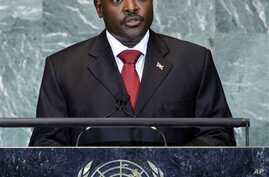 President Pierre Nkurunziza of Burundi addresses the 66th session of the United Nations General Assembly at U.N.  He government is introducing regulatory reforms to help attract investment. (AP Photo/Jason DeCrow)