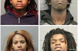 A combination photo shows four people charged with felonies for the beating of a man with mental health issues.