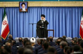 Iran's Supreme Leader Ayatollah Ali Khamenei delivers a speech in a meeting with military commanders in Tehran, Feb. 7, 2017.