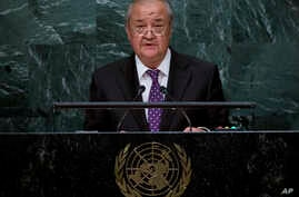 FILE - Uzbekistan's Minister for Foreign Affairs Abdulaziz Kamilov addresses the United Nations General Assembly, at U.N. headquarters, Sept. 23, 2016. Taliban and Uzbek officials say the head of the Taliban's political office in Qatar led a delegat