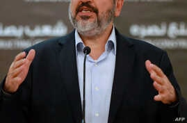 Hamas chief Khaled Meshaal holds a press conference in the Qatari capital Doha on Aug. 28, 2014.