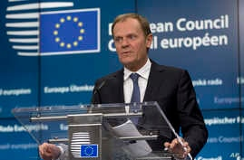European Council President Donald Tusk speaks during a media conference at an EU summit in Brussels, Belgium, March 19, 2015.