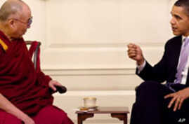 President Barack Obama meets with His Holiness the Dalai Lama in the Map Room of the White House, 18 Feb 2010