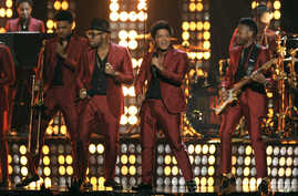 Bruno Mars, third from left, performs at the Billboard Music Awards at the MGM Grand Garden Arena on May 19, 2013 in Las Vegas.
