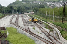 FILE - Construction along railway lines linking tracks in Rason in far northeastern North Korea with Russian rail lines, Aug 20, 2012.