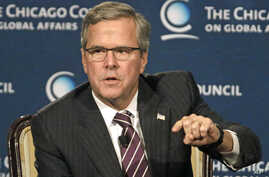 Former Florida governor Jeb Bush answers questions after speaking at the Chicago Council on Global Affairs, Feb. 18, 2015, in Chicago.