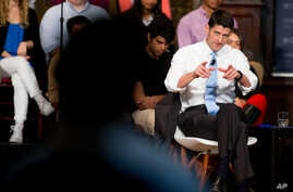 House Speaker Paul Ryan of Wisisconsin responds to a question from the audience during a town hall at Gaston Hall at Georgetown University in Washington, April 27, 2016.