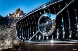 The Volvo logo is seen on a Volvo V90 Cross Country model automobile. (Volvo)