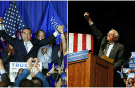From left, Republican presidential candidate Senator Ted Cruz and Democratic presidential candidate Senator Bernie Sanders celebrate their victories in the Wisconsin primary, April 5, 2016. Cruz was in Milwaukee, Wis., and Sanders was in Laramie, Wyo