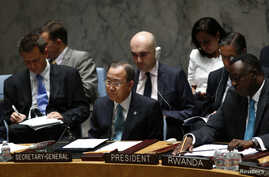 United Nations Secretary-General Ban Ki-moon (C) is seen at a U.N. Security Council meeting discussing the situation in the Middle East, at the U.N. headquarters in New York, July 10, 2014.