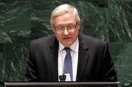 Sergey Ryabkov, Deputy Foreign Minister of the Russian Federation, addresses the Nuclear Nonproliferation Treaty (NPT) conference at United Nations headquarters, May 2010 file photo..