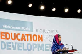 Nobel Peace Prize winner Malala Yousafzai speaks during the Oslo Summit on Education for Development at Oslo Plaza in Oslo, Norway, July, 7, 2015.