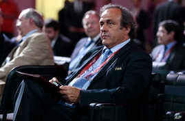 UEFA President Michel Platini waits for the beginning of the preliminary draw for the 2018 soccer World Cup in Konstantin Palace in St. Petersburg, Russia, July 25, 2015.