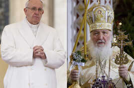 FILE - In this file photo combination Russian Orthodox Patriarch Kirill, right, serves the Christmas Mass in the Christ the Savior Cathedral in Moscow, Russia, on Jan. 7, 2016 and Pope Francis prays during an audience at the Vatican on Jan. 30, 2016.