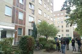 A view of a residential bulding in Leipzig, Germany, Oct. 10, 2016 where German police had captured a man suspected of planning a bomb attack.