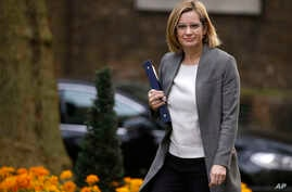 Amber Rudd, Britain's Home Secretary, arrives for a cabinet meeting in 10 Downing Street, London, March 29, 2017.