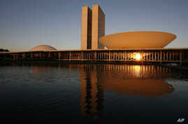 FILE - This Aug 14, 2007 file photo, shows a view of the Brazil's National Congress, designed by Brazilian architect Oscar Niemeyer and inaugurated in 1960, in Brasilia.