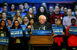 Democratic presidential candidate Sen. Bernie Sanders of Vermont addresses the crowd at a campaign rally at the University of Wisconsin-Eau Claire, April 2, 2016.