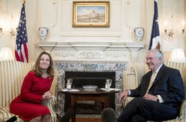 Secretary of State Rex Tillerson meets with Canadian Foreign Affairs Minister Chrystia Freeland, Feb. 8, 2017, at the State Department​ in Washington.