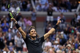 September 10, 2017 - Rafael Nadal reacts to beating Kevin Anderson in the Men's Singles Final at the 2017 US Open.