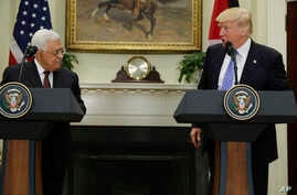 President Donald Trump speaks during a statement with Palestinian leader Mahmoud Abbas in the Roosevelt Room of the White House in Washington, May 3, 2017.
