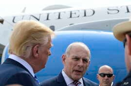 President Donald Trump and White House Chief of Staff John Kelly talk to the media before boarding Air Force One at Andrews Air Force Base in Md., May 4, 2018.
