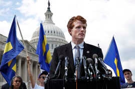 Rep. Joe Kennedy, D-Mass., speaks in support of transgender members of the military, July 26, 2017, on Capitol Hill in Washington.