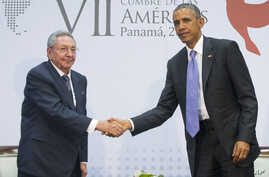 U.S. President Barack Obama and Cuban President Raul Castro meet for an informal talk on the sidelines of the Summit of the Americas in Panama City, April 11, 2015.