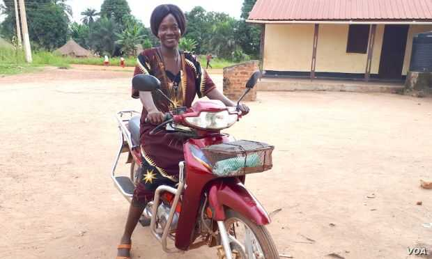 Riding in on her motorbike, Christine Ngbaazande is inspiring girls and women in her South Sudan community to stand up to their rights.