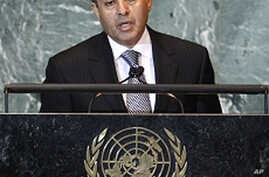 Libya's interim Prime Minister Mahmoud Jibril, chairman of the National Transitional Council, addresses the 66th United Nations General Assembly at the U.N. headquarters in New York, September 24, 2011.