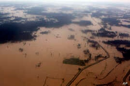 An aerial view of flooded land is seen at Dhanusha District, Nepal, Aug. 13, 2017.