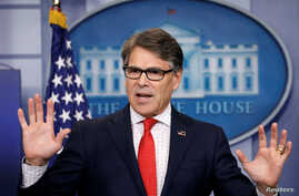 FILE - U.S. Energy Secretary Rick Perry speaks to reporters during a briefing at the White House in Washington.