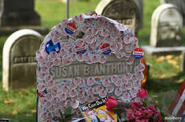 "The grave of women's suffrage leader Susan B. Anthony is covered with ""I Voted"" stickers left by voters in the U.S. presidential election, at Mount Hope Cemetery in Rochester, New York, November 8, 2016."
