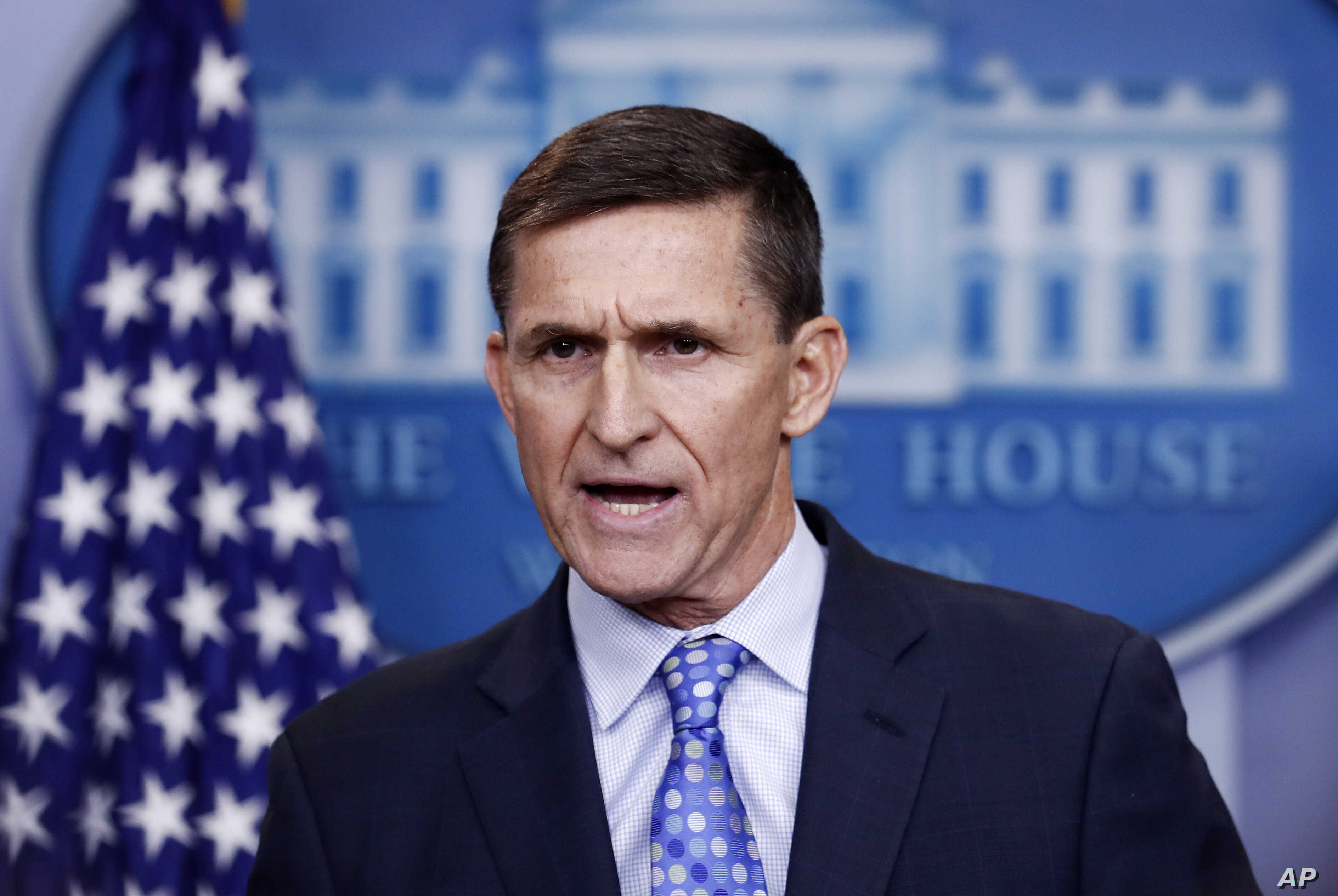 National Security Adviser Michael Flynn speaks during the daily news briefing at the White House, in Washington, Feb. 1, 2017.